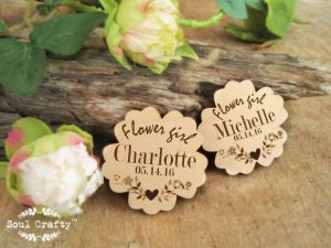 Personalized wooden flower girl badge