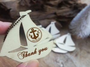 Personalized sailing yacht wooden thank you gift tags
