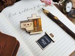 Personalized film canister SD memory card wooden holder magnet